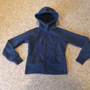 Lululemon blue slate Scuba warm sweatshirt sz 6